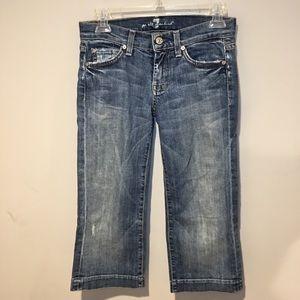 7FAMK Dojo Cropped Jeans Distressed Style Size 25